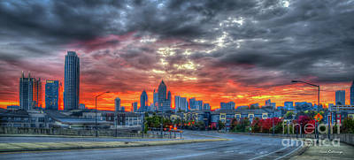 Photograph - Ablaze Atlanta Midtown Fall Sunrise Atlantic Station Panorama Art by Reid Callaway