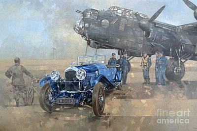 Airplanes Painting - Able Mable And The Blue Lagonda  by Peter Miller