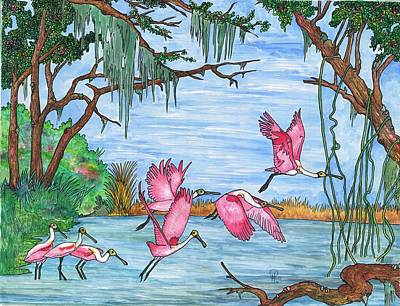 Spoonbill Mixed Media - Abnc Roseate Spoonbills by Doug Hiser