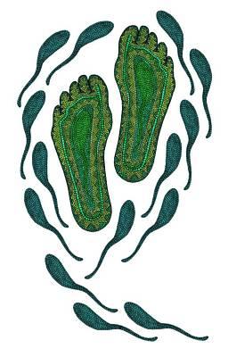 Digital Art - Aboriginal Footprints Green Transparent Background by Barbara St Jean