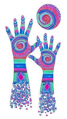 Digital Art - Aboriginal Hands Pastel Transparent Background by Barbara St Jean