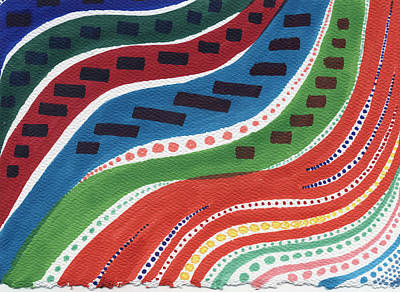 Pointalism Drawing - Aboriginal Waves by Leslie Genser