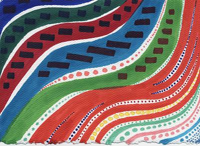 Sharpie Drawing - Aboriginal Waves by Leslie Genser