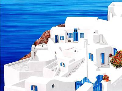 Chimney Painting - Santorini, Above Atlantis - Prints Of Original Oil Painting by Mary Grden's Baywood Gallery