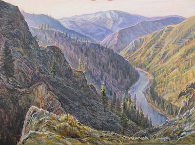 Painting - Above Devils Peak Rapids by Steve Spencer