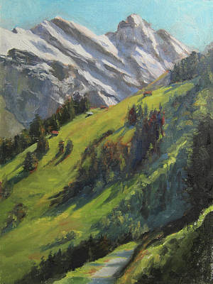 Switzerland Painting - Above It All Plein Air Study by Anna Rose Bain