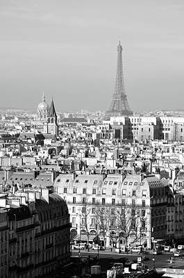 Photograph - Above Paris France Rooftops With Les Invalides Dome And Eiffel Tower Black And White by Shawn O'Brien