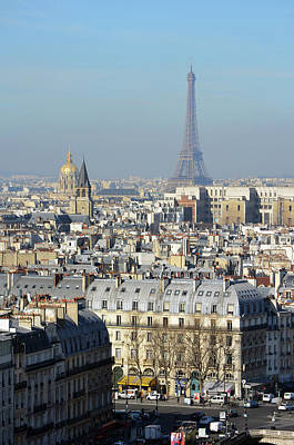 Photograph - Above Paris France Rooftops With Les Invalides Dome And Eiffel Tower by Shawn O'Brien