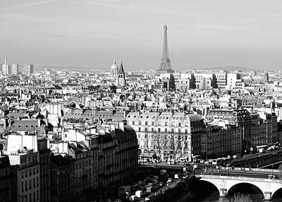 Photograph - Above Paris France Rooftops With Pont Au Change Les Invalides And Eiffel Tower Black And White by Shawn O'Brien