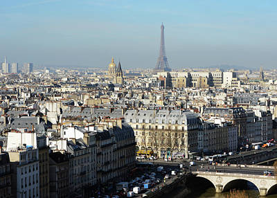 Photograph - Above Paris France Rooftops With Pont Au Change Les Invalides And Eiffel Tower by Shawn O'Brien