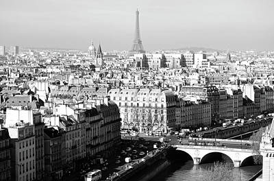 Photograph - Above Paris France Rooftops With Pont Au Change Les Invalides Dome And Eiffel Tower Black And White by Shawn O'Brien