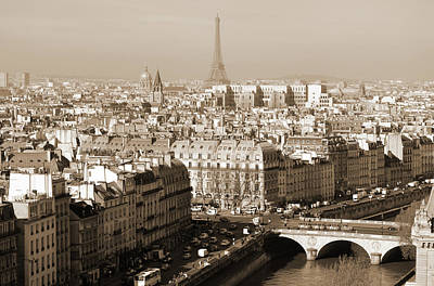 Photograph - Above Paris France Rooftops With Pont Au Change Les Invalides Dome And Eiffel Tower Sepia by Shawn O'Brien