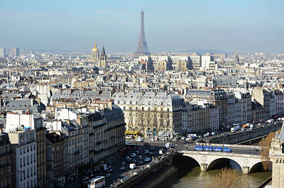 Photograph - Above Paris France Rooftops With Pont Au Change Les Invalides Dome And Eiffel Tower by Shawn O'Brien