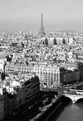 Photograph - Above Paris Rooftops With The Eiffel Tower In The Distance Black And White by Shawn O'Brien