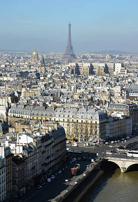 Photograph - Above Paris Rooftops With The Eiffel Tower In The Distance by Shawn O'Brien
