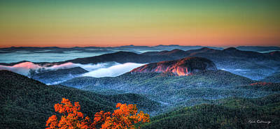 Photograph - Above The Clouds Looking Glass Rock Sunrise Blue Ridge Parkway by Reid Callaway