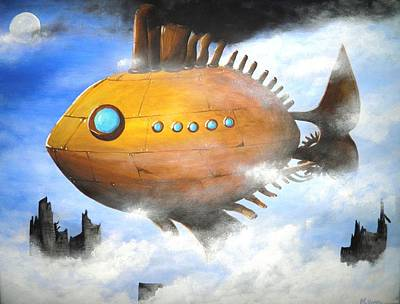 Post Apocalyptic Painting - Above The Clouds by Meagan  Visser