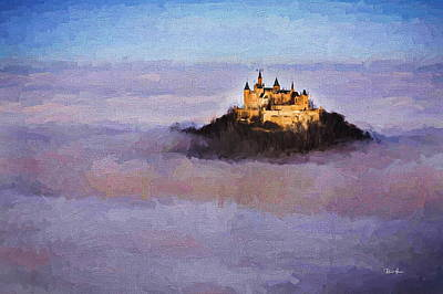 Trees Painting - Above The Clouds Neuschwanstein Castle by Russ Harris