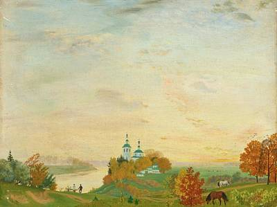 Boris Mikhailovich Kustodiev Painting - Above The River Autumn by MotionAge Designs