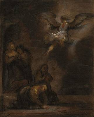Night Angel Painting - Abraham And The Angel by Alfred Jacob