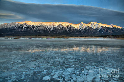 Photograph - Abraham Lake Ice Bubble Sunset by Adam Jewell