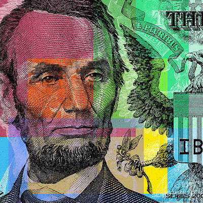 Art Print featuring the digital art Abraham Lincoln - $5 Bill by Jean luc Comperat