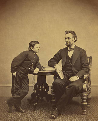 Abraham Lincoln And His Son Thomas Art Print by Alexander Gardner