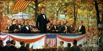 Stars And Stripe Painting - Abraham Lincoln And Stephen A Douglas Debating At Charleston by Robert Marshall Root
