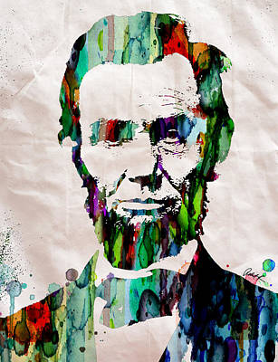 Colorful Abstract Drawing - Abraham Lincoln Art Watercolor by Robert R Splashy Art Abstract Paintings