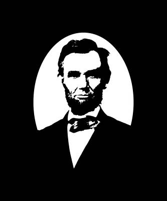 President Lincoln Digital Art - Abraham Lincoln - Black And White by War Is Hell Store