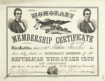 Photograph - Abraham Lincoln Certificate  by Carlos Diaz
