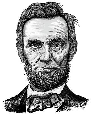 Politicians Drawings - Abraham Lincoln by Doug LaRue