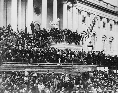 Abraham Lincoln Gives His Second Inaugural Address - March 4 1865 Art Print by International  Images