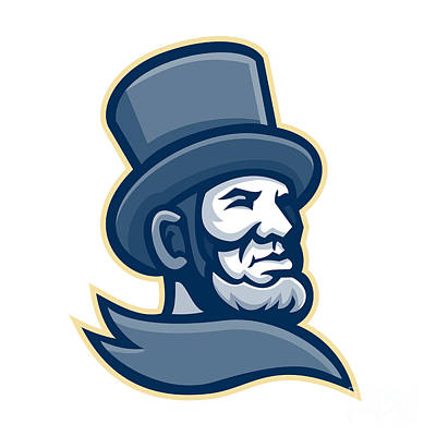Politicians Digital Art - Abraham Lincoln Head Mascot by Aloysius Patrimonio