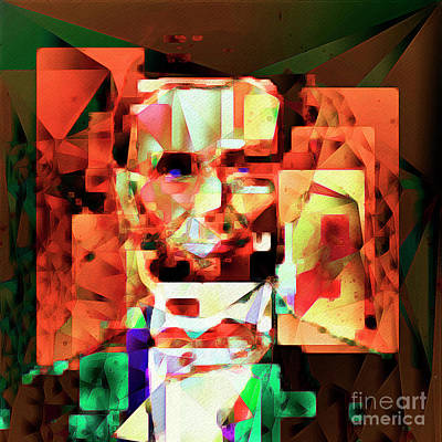 Abraham Lincoln In Abstract Cubism 20170327 Square Art Print by Wingsdomain Art and Photography