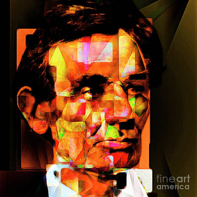 Abraham Lincoln In Abstract Cubism 20170402 Square Art Print by Wingsdomain Art and Photography