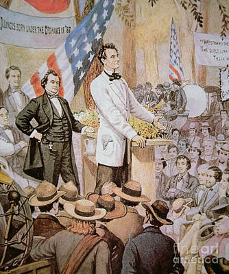 Orator Painting - Abraham Lincoln In Public Debate With Stephen A Douglas In Illinois, 1858  by American School
