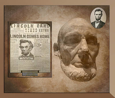 Abe Mixed Media - Abraham Lincoln Life Mask With Headlines by Thomas Woolworth