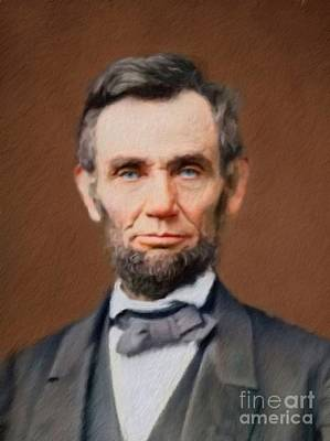 Politicians Paintings - Abraham Lincoln by Mary Bassett