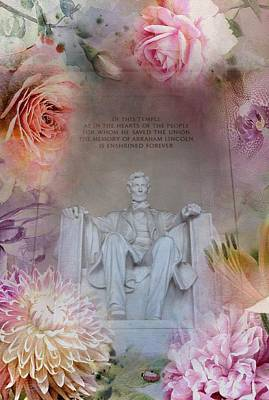 Flower Memorial Photograph - Abraham Lincoln Memorial At Spring by Marianna Mills