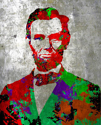 Painting - Abraham Lincoln On Silver - Amazing President by Robert R Splashy Art Abstract Paintings