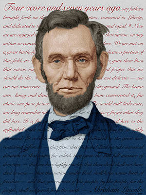 Lincoln Portrait Digital Art - Abraham Lincoln - Patriotic Palette by Swann Smith
