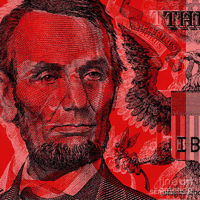 Digital Art - Abraham Lincoln Pop Art by Jean luc Comperat