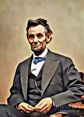 Politicians Paintings - Abraham Lincoln, President of the United States. Digital Art by MB by Mary Bassett