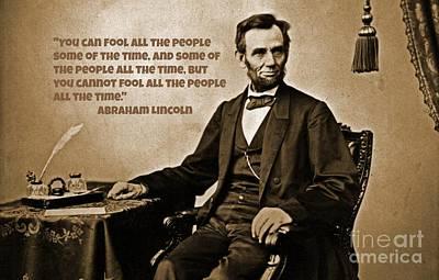 Emancipation Mixed Media - Abraham Lincoln Quote Six by John Malone