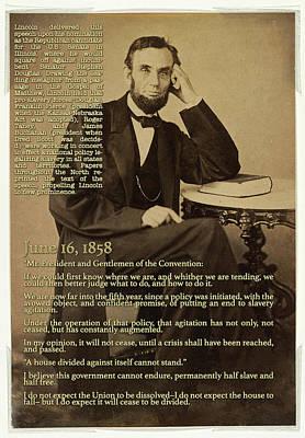 Photograph - Abraham Lincoln Speech 1858 by Carlos Diaz