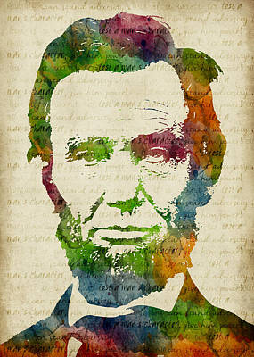 Bright Digital Art - Abraham Lincoln Watercolor by Mihaela Pater