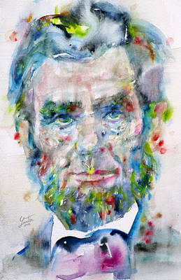Painting - Abraham Lincoln - Watercolor Portrait.3 by Fabrizio Cassetta