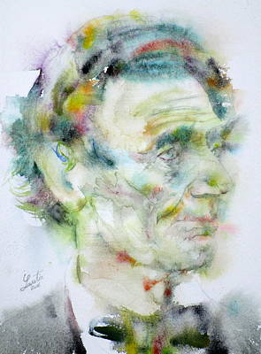 Painting - Abraham Lincoln - Watercolor Portrait.4 by Fabrizio Cassetta