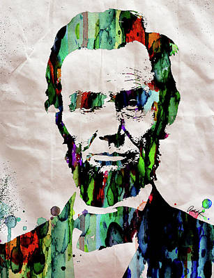 Painting - Abraham Lincoln Watercolor Print Painting by Robert R Splashy Art Abstract Paintings